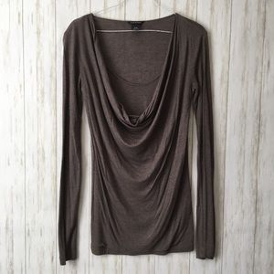 club monaco • Charcoal Long Slv Drape Neck Top